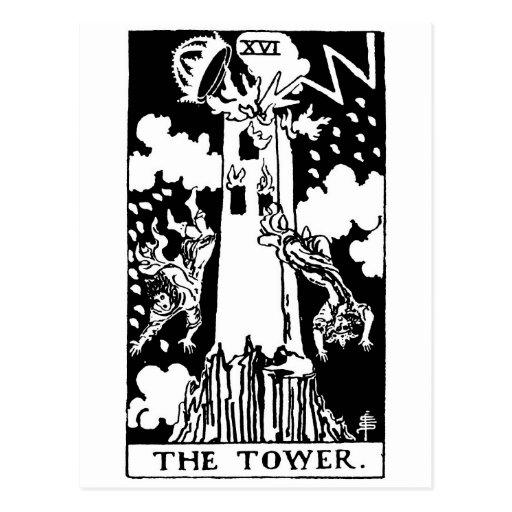 Tarot card 'tower' post cards