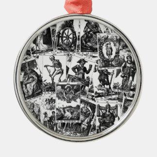 Tarot cards pattern metal ornament