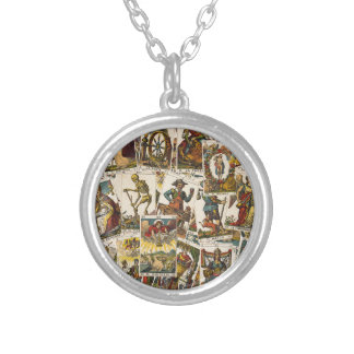 Tarot cards pattern silver plated necklace