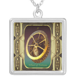 Tarot Cards The Wheel of Fortune Square Pendant