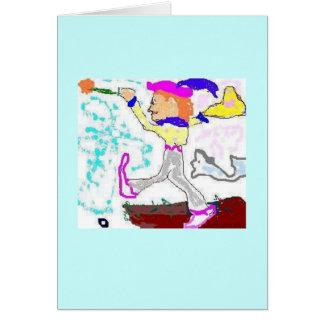 Tarot Fool Greeting (aqua background) Card