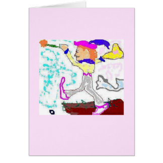 Tarot Fool Greeting (pink background) Greeting Cards
