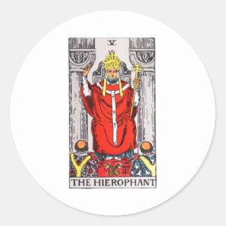 tarot-hierophant round sticker