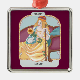 Tarot Queen of Wands Metal Ornament
