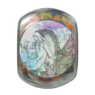 Tarot Symbol Angel and Bird Glass Candy Jar