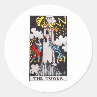 tarot-torre pegatina redonda