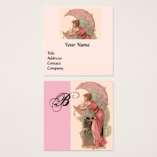 TAROTS,LADY OF THE MOON AND FLOWERS PINK Monogram Square Business Card