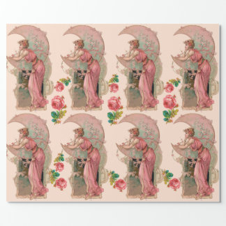 TAROTS / LADY OF THE MOON, FLOWERS AND PINK ROSES WRAPPING PAPER