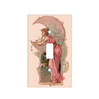 TAROTS/ LADY OF THE MOON,FLOWERS IN PINK LIGHT SWITCH COVER