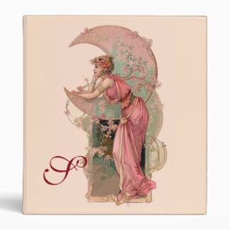 TAROTS/ LADY OF THE MOON,FLOWERS IN PINK MONOGRAM BINDER