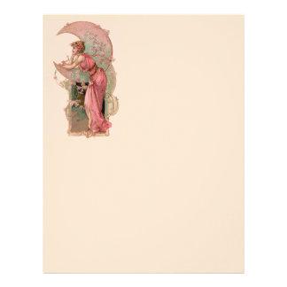 TAROTS/ LADY OF THE MOON,FLOWERS IN PINK MONOGRAM LETTERHEAD