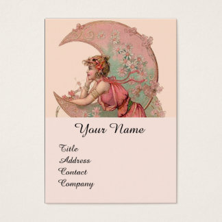 TAROTS / LADY OF THE MOON WITH FLOWERS IN PINK BUSINESS CARD