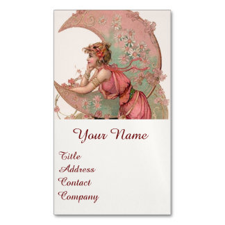 TAROTS / LADY OF THE MOON WITH FLOWERS IN PINK BUSINESS CARD MAGNET