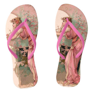 TAROTS / LADY OF THE MOON WITH FLOWERS IN PINK FLIP FLOPS