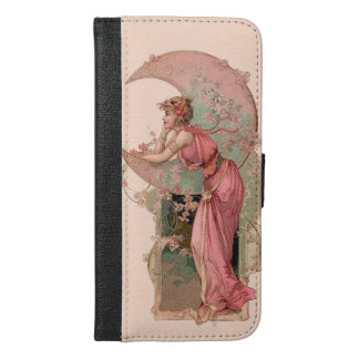 TAROTS / LADY OF THE MOON WITH FLOWERS IN PINK iPhone 6/6S PLUS WALLET CASE