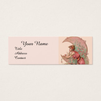 TAROTS / LADY OF THE MOON WITH FLOWERS IN PINK MINI BUSINESS CARD