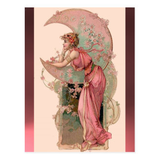 TAROTS / LADY OF THE MOON WITH FLOWERS IN PINK POSTCARD
