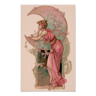 TAROTS / LADY OF THE MOON WITH FLOWERS IN PINK POSTER