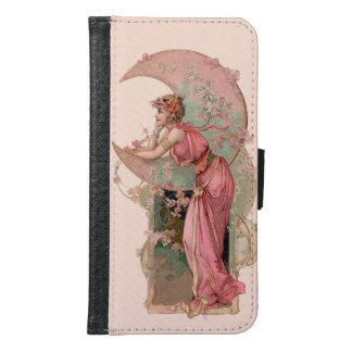 TAROTS / LADY OF THE MOON WITH FLOWERS IN PINK SAMSUNG GALAXY S6 WALLET CASE