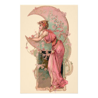 TAROTS/ LADY OF THE MOON WITH FLOWERS IN PINK STATIONERY