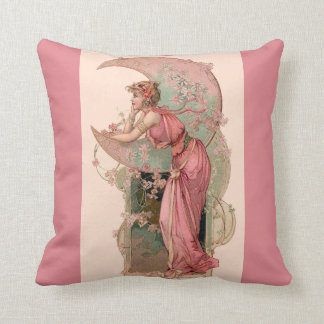 TAROTS / LADY OF THE MOON WITH FLOWERS IN PINK THROW PILLOW