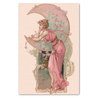 TAROTS/ LADY OF THE MOON WITH FLOWERS IN PINK TISSUE PAPER