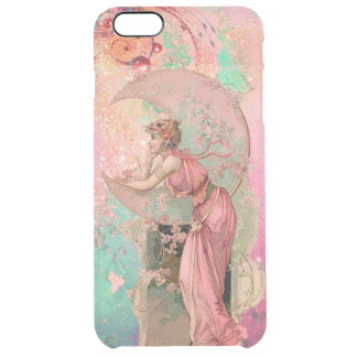 TAROTS /LADY OF THE MOON WITH FLOWERS, PINK FLORAL CLEAR iPhone 6 PLUS CASE