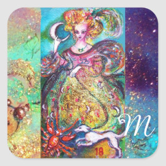 TAROTS OF THE LOST SHADOWS /THE MOON LADY Monogram Square Sticker