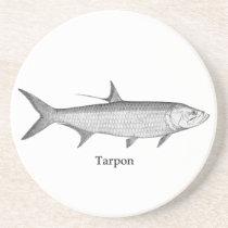 Tarpon  Logo  (line art) Sandstone Coaster