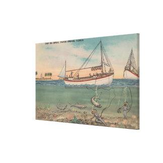 Tarpon Springs, FL - View of Boat & Deep Sea Canvas Print