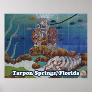 Tarpon Springs Sponge Diver Mural Poster