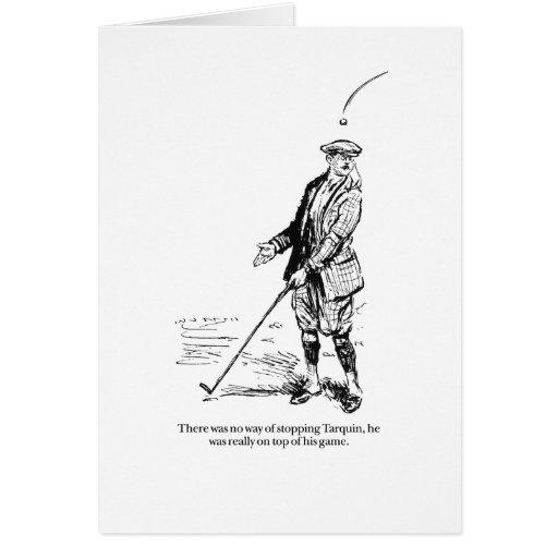 Tarquin y golf tarjeta de felicitación