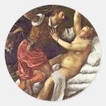 Tarquinius And Lucretia By Tizian Round Sticker