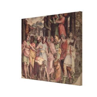 Tarquinius the Proud founding the Temple of Jupite Canvas Print
