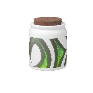 Tarro abstracto Verde-Amarillo del caramelo Platos Para Caramelos