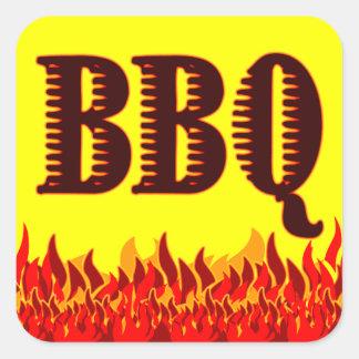 Tarro adaptable de las llamas rojas del Bbq o Pegatina Cuadrada
