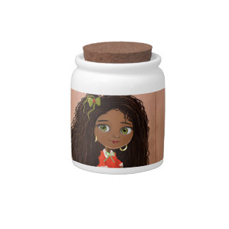 Tarro afroamericano del caramelo del chica del dib jarras para caramelos