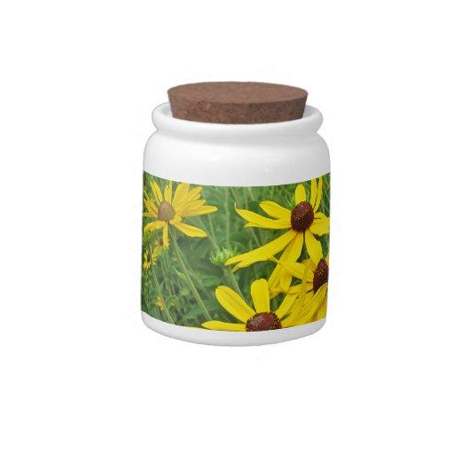 Tarro amarillo de la invitación del Wildflower Jarra Para Caramelo
