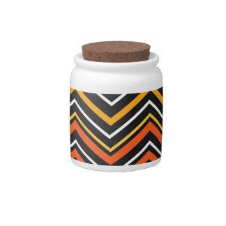 Tarro anaranjado y negro del caramelo de Chevron Jarras Para Caramelos