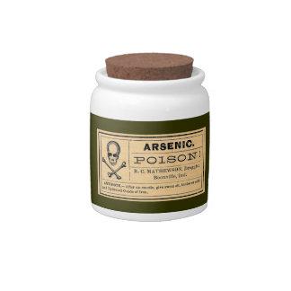 Tarro arsénico del caramelo de la etiqueta del ven jarras para caramelos
