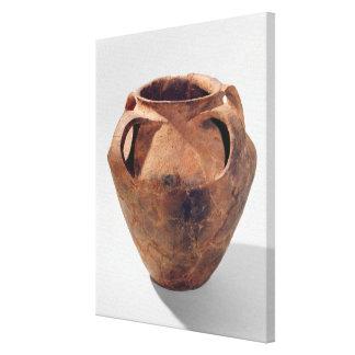 Tarro bicónico armoricano con cuatro manijas impresion de lienzo