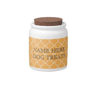 Tarro blanco anaranjado de la invitación del perro platos para caramelos