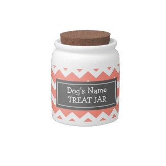 Tarro blanco coralino de la invitación del perro d platos para caramelos