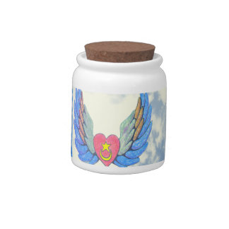 Tarro con alas del caramelo del corazón jarra para caramelo
