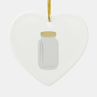 Tarro de albañil adorno navideño de cerámica en forma de corazón