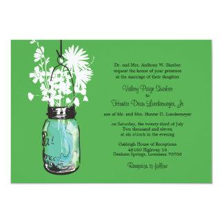 Tarro de albañil azul con casarse de los invitación 12,7 x 17,8 cm