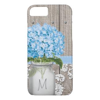 Tarro de albañil azul del monograma del Hydrangea Funda iPhone 7