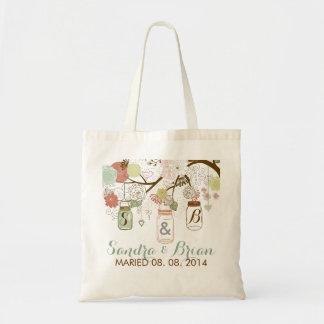 Tarro de albañil colgante y flores retras que bolsa tela barata