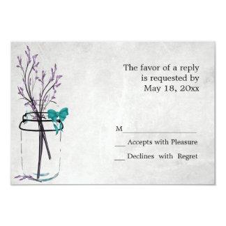 Tarro de albañil con las ramas púrpuras - tarjetas comunicado personal