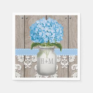 Tarro de albañil con monograma azul del Hydrangea Servilleta De Papel